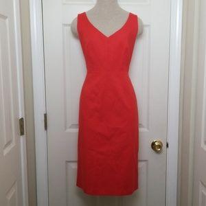 Tahari Sleeveless Sheath Dress Vneck Orange Red